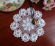 Elegant Fine Yarn Hand Crochet 3D Flower Cotton Doily Doilies Round 15CM White
