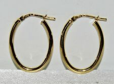 9CT YELLOW GOLD & SILVER LADIES OVAL HOOP CREOLE EARRINGS