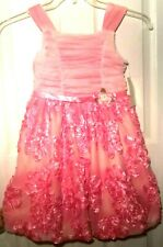 Bonnie Jean Little Girls Party Dress Sz 8 Pink Floral Special Occasion Formal