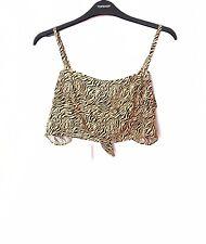TOPSHOP Tiger Print Bralet Bralette Crop Top Women Size 6 NWT