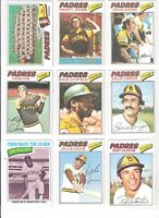 1977 TOPPS SAN DIEGO PADRES TEAM SET 27,DAVE WINFIELD, ROLLIE FINGERS, MIKE IVIE