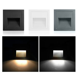 4/8Pcs LED Wall Stair Night Recessed Light IP65 Porch Patio Step Walkway Lamp
