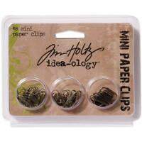 Idea-Ology Mini Paper Clips Antique Nickel Brass Copper 48/Pkg by Tim Holtz