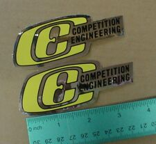 2 small Vtg chrome Hot Rod Competition Engineering Drag Racing decal sticker set