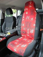 i - SEMI FIT A NISSAN X-TRAIL, CAR SEAT COVERS, CHINESE RED AND BLACK - 2 FRONTS