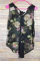 Band of Gypsies Sz SMALL / S Floral Chiffon Hi-Lo Tank Top Blouse
