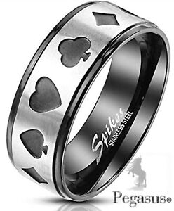 SIZE R  - QUALITY Black Lucky Card Player Casino  Poker Ring