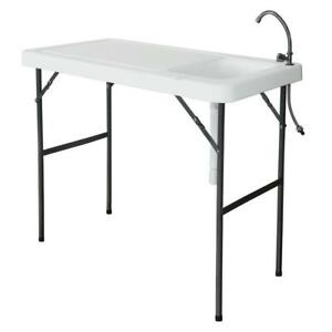 Outdoor Fish Cleaning Camp Furniture Cutting Table with Sink Faucet Portable