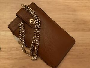 COACH Polished Pebble Leather Turnlock Chain Phone Crossbody choose from colors.