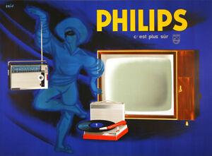 Original Vintage Philips TV Radio Affiche Par Eric c1955