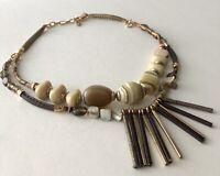 "Vintage Handmade Gemstone MOP Glass Bead 2 Strand Necklace 17.5"" + 2.5"""