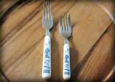 Vtg Blue Willow Handle Salad Dinner Place Fork Lot Stainless Flatware Silverware