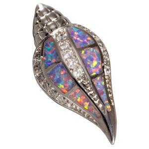 Conch Seashell Lavender Purple Fire Opal Silver Jewelry Necklace Pendant