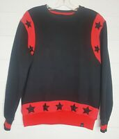 Hudson Outerwear Mens 100% Authentic Red & Black Embroidered Star Pullover Sz L