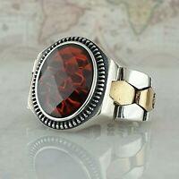 925 Sterling Silber Rot Granat Edelstein Mens Ring Türkei Ottomane Stil