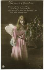 c 1912 British Beauty CHRISTMAS ANGEL postally unused tinted photo postcard