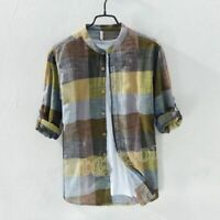 Men's Summer Linen Cotton Casual Blouse Long Sleeve Mandarin Collar Plaid Shirt