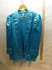 BEAUTIFUL-VINTAGE 1970's-1980's TURQUOISE-SILK SATIN JACKET- SIZE MED IN EXC.CD
