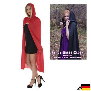 DAMEN UMHANG Cape Halloween Fasching Kleid Zauberer Hexe Teufel Gothic Kostüm