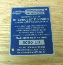 1955  CHEVY TRUCK  GVW I.D. PLATE Gross Vehicle Weight Identification Plate