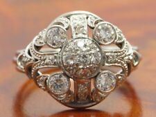 14kt 585 Oro Bianco Art Deco a Mano Anello con 0,90ct Brillante & Diamante