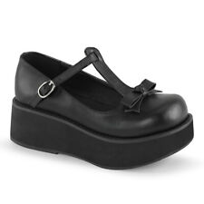 Demonia SPRITE-03 Women's Black Platform T-Strap Bow Buckle Mary Janes Shoes