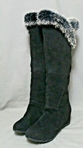 FASHION FOOTWEAR womens knee  boots size 8 M black faux leather fur trim NEW
