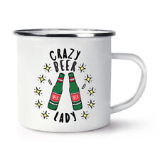 Crazy Beer Lady Stars Enamel Mug Cup Funny Joke Drunk Mum Mothers Day