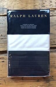 Ralph Lauren Blanc Bleu WILFORD STANDARD Pillowcases White and Polo Navy ~ New