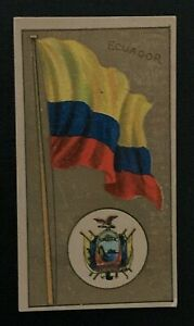 1895 NATIONAL FLAGS AND ARMS AMERICAN TOBACCO CO CIGARETTE CARD ECUADOR