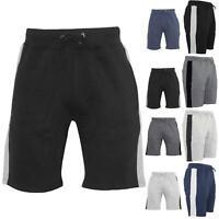 Mens Contrast Panel Side Zip Jog Sweat Running Summer Gym Fleece Bottoms Shorts