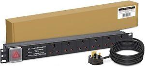 LMS Data 6-Way 1U 19-inch Horizontal Rackmount PDU W/ Surge Protection (UK Outle