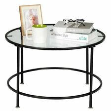 Round Coffee Table Glass Table with Black Metal Frame End Table for Living Room