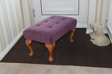 """NEW Large Aubergine 24""""x14"""" Buttoned Foot Stool"""
