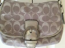 Coach Signature C Silver Metallic Swingpack/Crossbody Clutch Flap Bag
