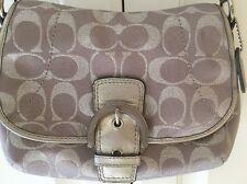Coach Signature C Silver Metallic Swingpack/Crossbody Clutch Flap Bag