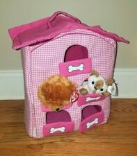 Lillian Vernon dog hotel/apartment house for plush stuffed pets pink