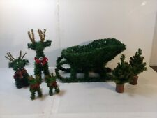 Set Of 7 Artificial Tree Reindeer & Sleigh Christmas Decoration ch1786