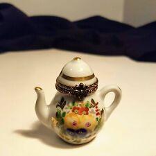 "Limoges France Tea Pot Coffee Pot Flowers Trinket Box 1-3/4"""