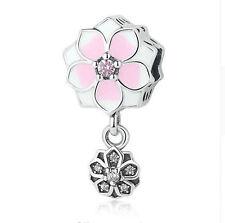 Genuine .925 STERLING SILVER Pink Magnolia Bloom Flower Bracelet Charm Bead