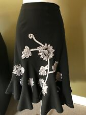 SUNNY LEIGH~BLACK SKIRT~Embellished BOTTOM RUFFLE Gray Ribbon Flower Rosettes 6P