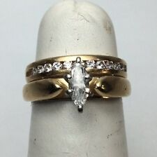 Wedding Set .40 Marquise 14K Yellow Gold Band With Round Diamonds (J513)