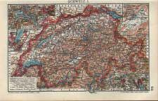 Landkarte map 1910: SCHWEIZ. I/II. Bern Zürich Genf