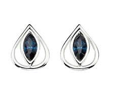 Pendientes de plata esterlina Azul Cristal Marquesa piedra abierta Triángulo Tachuelas ES/E4034L