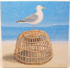 Nautical Ocean Seaside Seagull & Lobster Pot - Wooden Picture Plaque Art