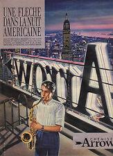 PUBLICITE ADVERTISING  1984    ARROW  chemises une flehe dans la nuit américaine