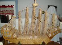 DC: Prison Folk Art Matchstick Ship, HUGE 5' Length, Local Pickup Only