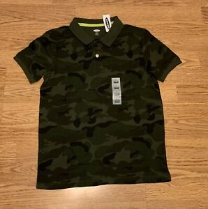 NWT OLD NAVY BOYS NAVY COLLARED Short Sleeve SHIRT SIZE L Large (10/12) Camo