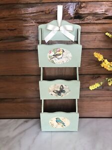 Vintage bird themed wall mount mail organizer