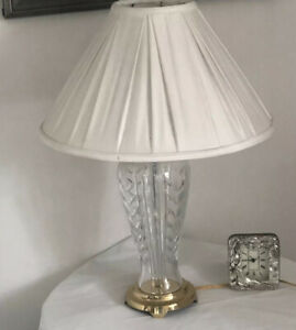 """IRELAND WATERFORD Crystal 27"""" Table Lamp Signed Etched Seahorse in Name LOOK"""